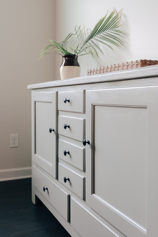 how to paint furniture from start to finish - see how I turned this ugly wood sideboard into a beautiful piece of furniture!