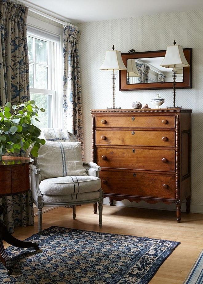 old dresser and floral drapes
