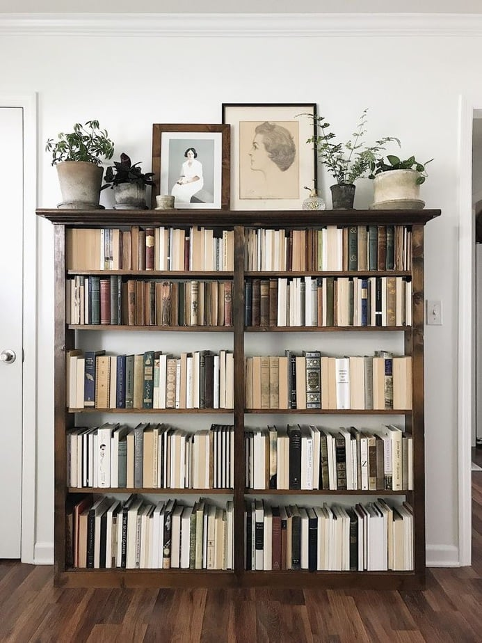 bookcase filled with books and art