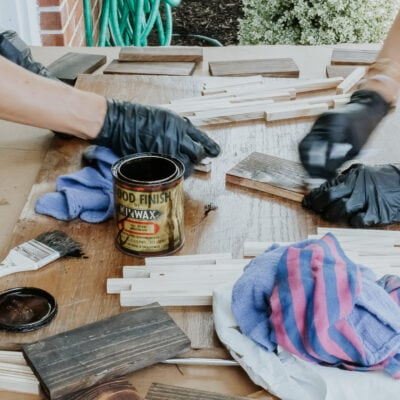 staining wood lantern pieces with Jacobean