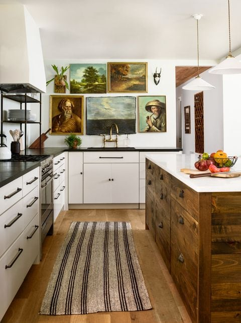kitchen with vintage wall art