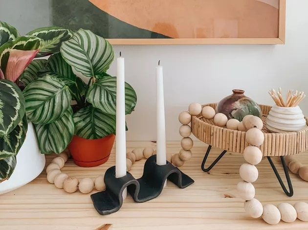 DIY clay candle holder