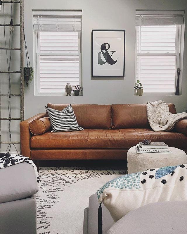 poly and bark leather sofa