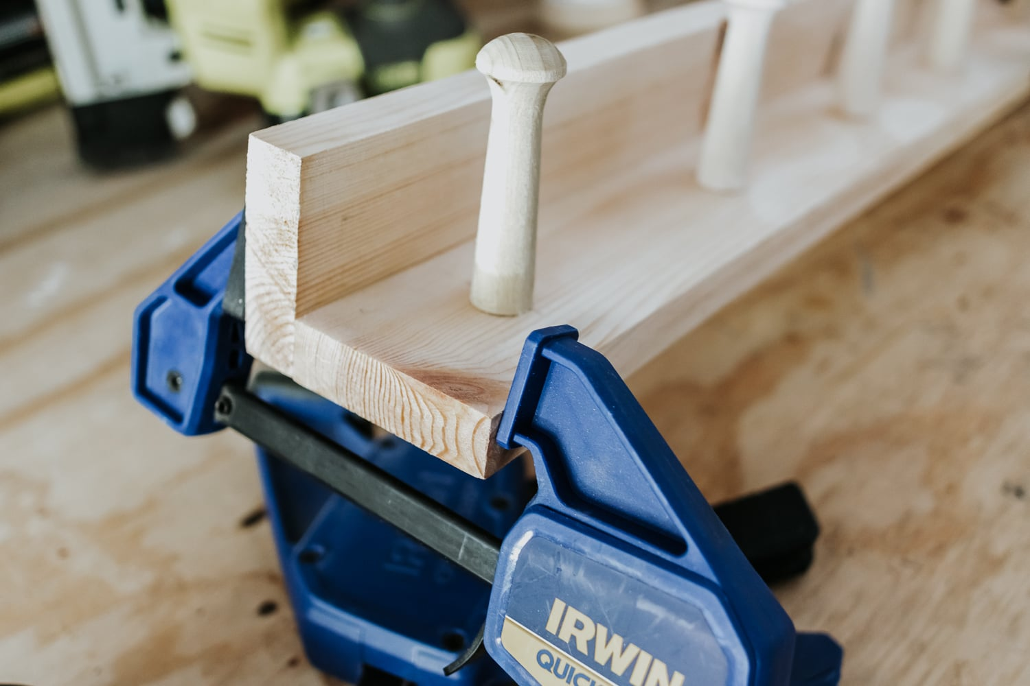 clamping a shelf to a peg rail - how to tutorial in post