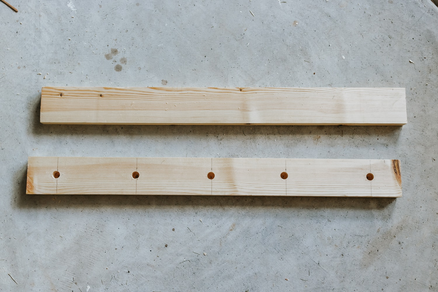 how to create a shaker peg rail with shelf - two peices of wood cut to size