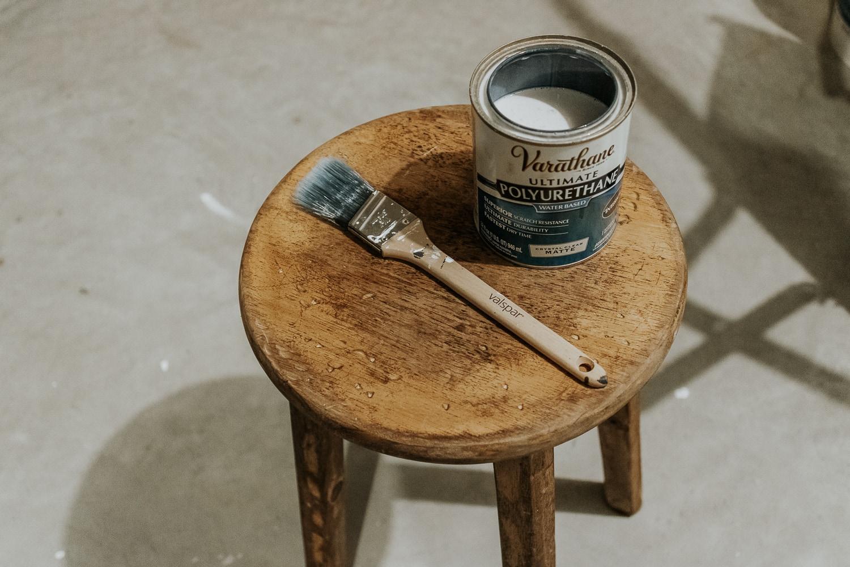 polyurethane on a wood stool