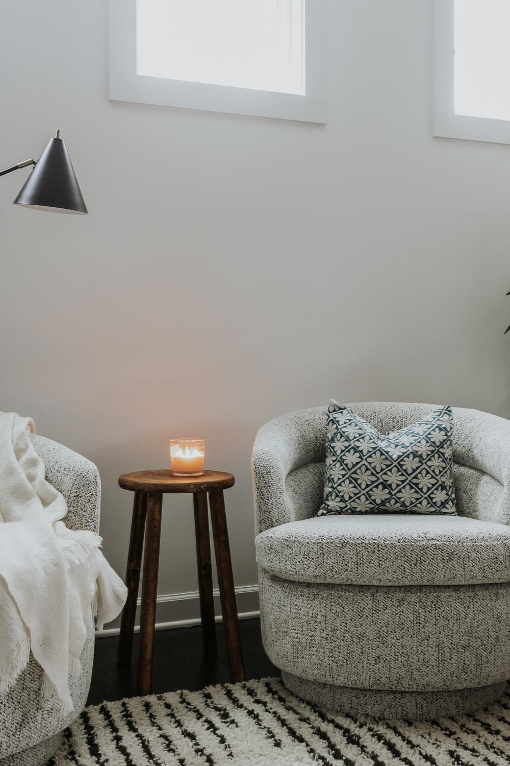 a small rustic side table between two chairs - diy side table tutorial in post!